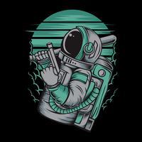 astronaut omgaan met gun.vector hand tekenen, shirt ontwerpen, biker, disk jockey, gentleman, kapper en vele others.isolated en gemakkelijk te bewerken. Vectorillustratie - Vector