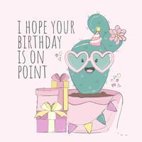 Cactussen Gelukkige verjaardagskaart vector