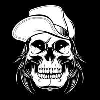 schedel dragen cap. Vector hand tekenen, shirt ontwerpen, biker, disk jockey, gentleman, kapper en vele anderen. geïsoleerd en gemakkelijk te bewerken. Vectorillustratie - Vector