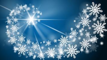 Vrolijke Kerstmis en gelukkig Nieuwjaar wenskaart in papier knippen stijl achtergrond. Vector illustratie Kerstviering sneeuwvlokken op blauwe achtergrond voor banner, flyer, poster, behang, sjabloon.
