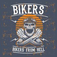 grunge stijl schedel fietsers dragen retro helm hand tekening vector