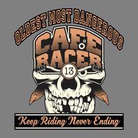 schedel café racer hand tekening, shirt ontwerpen, biker, disk jockey, gentleman, kapper en vele anderen. geïsoleerd en gemakkelijk te bewerken. Vectorillustratie - Vector