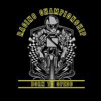 Schedel motorracen hand tekening vector hand tekenen, shirt ontwerpen, biker, disk jockey, gentleman, kapper en vele anderen. geïsoleerd en gemakkelijk te bewerken. Vectorillustratie - Vector