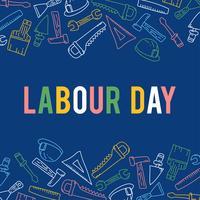 Illustratie van Dag van de Arbeid met verschillende hulpmiddelen van het gebouw