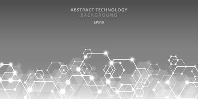 Het abstracte genetische en sociale netwerkpatroon van technologiezeshoeken op grijze achtergrond. Toekomstige geometrische sjabloonelementen zeshoek met gloeiknooppunten. Bedrijfspresentatie voor uw ontwerp met ruimte voor tekst.