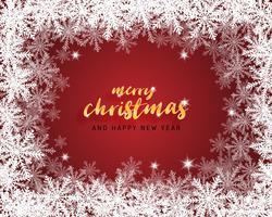 Vrolijke Kerstmis en gelukkig Nieuwjaar wenskaart in papier knippen stijl achtergrond. Vector illustratie Kerstviering sneeuwvlokken op rode achtergrond voor banner, flyer, poster, behang, sjabloon.