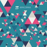 De abstracte moderne kleurrijke elementen van het driehoekenpatroon op blauwe achtergrond met exemplaarruimte.