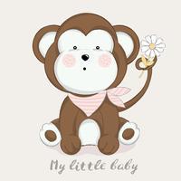 schattige baby aap cartoon hand getrokken style.vector illustratie