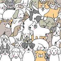 Cartoon schattige doodle honden vector.