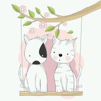 schattige baby kat en hond cartoon hand getrokken stijl zwaaien. Vectorillustratie