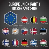 Europe Union Hexagon Flags Shield Deel 1 vector