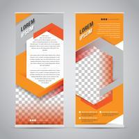 Oranje oprollen banner stand ontwerpsjabloon vector