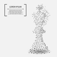 Abstracte mash-lijn en punt koning van het schaak. Vector bedrijfsillustratie. Polygonal low poly.