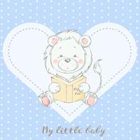 schattige baby leeuw met boek cartoon hand getrokken stijl vector