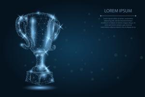 Abstracte veelhoekige trofee beker. Lage poly draadframe vectorillustratie. Kampioenenprijs voor sportoverwinning. Eerste plaats, succes in competitie, viering ceremonie symbool.