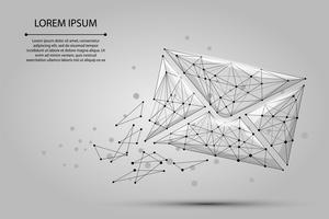 Bericht. Veelhoekige wireframe mesh envelop van stippen en lijnen. Lage poly Mail, brief, e-mail of andere concept vectorillustratie