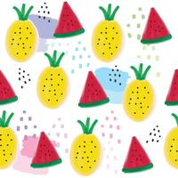 Leuke zomerananas en watermeloen naadloze patroonvector.