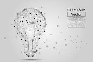 Abstract beeld van een gloeilamp bestaande uit punten, lijnen en vormen. Vector bedrijfsillustratie. Ruimte poly, sterren en universum