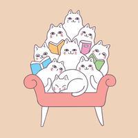 Beeldverhaal leuke katten die op bankvector lezen.