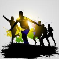 grunge voetbalspelers die 02 vieren vector