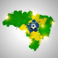 Brazilië splatter kaart met bal vector