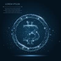 Kort maischement en punt Bitcoin. Vector bedrijfsillustratie. Polygonal low poly currency