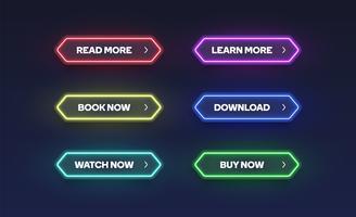 Kleurrijke glanzende neon knop set, vectorillustratie