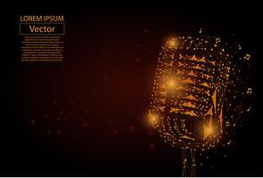 Abstracte stamlijn en puntafbeelding van een microfoon. Vintage microfoon vector draadframe concept