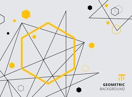 Abstracte gele en zwarte geometrische zeshoek met lijnen op grijze achtergrond.