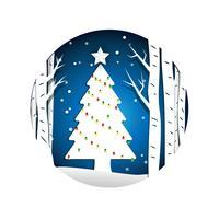 Kerstboom papierstijl vector