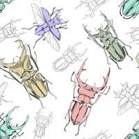 Hand getrokken bug naadloze patroon