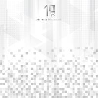 Abstracte technologie geometrische gegevens vierkanten patroon driehoeken overlay kleurovergang grijze kleur op witte achtergrond.