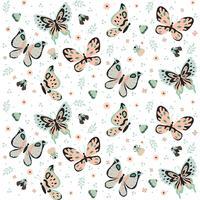 Hand getrokken vlinders, insecten, bloemen en planten Naadloze patroon geïsoleerd op een witte achtergrond - vectorillustratie