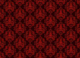 naadloze luxe decoratieve achtergrond. Rood damast naadloos bloemenpatroon. Koninklijk behang. vector