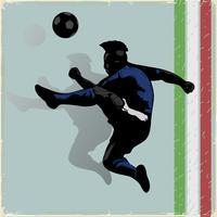 Retro voetbalspeler springen