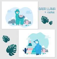 Lama en Cactus Clipart-bundel, geen drama Lama's grafische set.