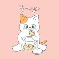 Beeldverhaal leuke kat die koekjesvector eet.