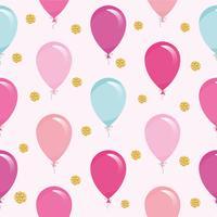 Feestelijke naadloze patroon met kleurrijke ballonnen en glitter confetti. Voor verjaardag, babydouche, vakantieontwerp.