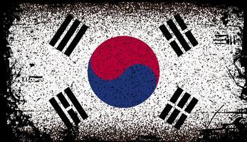 Zuid-Korea Grunge vlag. vector achtergrond illustratie