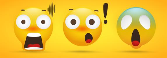Emoji-inzameling die extreme schok op gele achtergrond toont vector