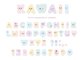 Kawaii alfabet in pastel kleuren met grappige lachende gezichten. Voor verjaardagswenskaarten, feestuitnodigingen, kinderontwerp.