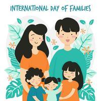Hand getekend internationale familiedag / internationale dag van gezinnen met bloem krans liefde achtergrond - vader moeder dochter zoon baby vectorillustratie vector