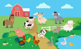 Landbouwhuisdieren met landschap - vectorillustratie in beeldverhaalstijl, het boekillustratie van kinderen