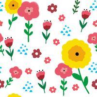 Kleurrijke bloemen en donkere achtergrond naadloze patroonvector.