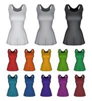 Het duidelijke vrouwelijke malplaatje van de netballkleding dat op wit wordt geïsoleerd. vector