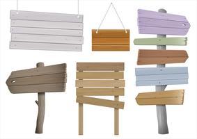 Set van vintage houten wegwijzers