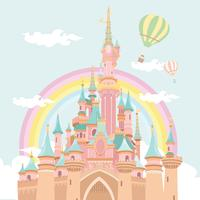 Magische Kasteel Hete Lucht Baloon Illustratie Vector