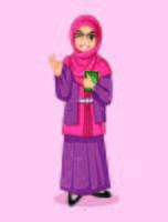 moslim masclimah karakter mascotte ontwerpen vector