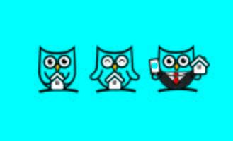 Schattig Owl Home mascotte karakter