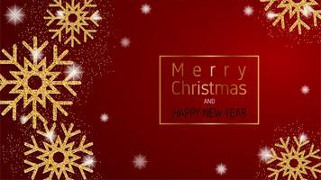 Vrolijke Kerstmis en gelukkig Nieuwjaar wenskaart, banner, reclame achtergrond in papier knippen stijl. Vector illustratie.